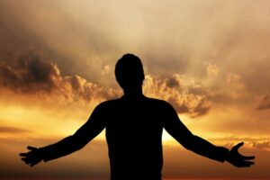 Shaman Praying To Grandfather Sky